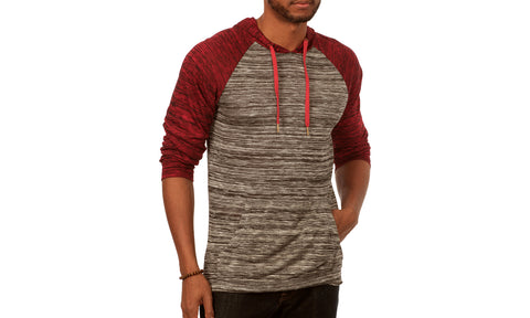 Something Scarred Raglan Cut Baseball Hoodie in Grey/Maroon