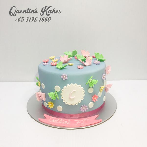 Butterflies and Flowers Kake