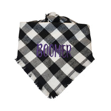 Load image into Gallery viewer, Personalized Black and White Plaid Flannel Dog Bandana