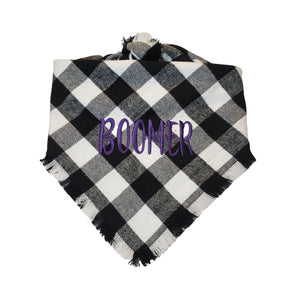 Personalized Black and White Plaid Flannel Dog Bandana