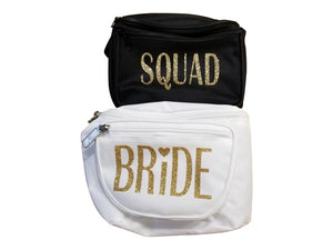 Black and white three pocket women's fanny packs with gold glitter lettering.