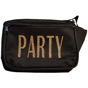 Black three pocket Party women's fanny packs with gold glitter vinyl lettering