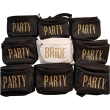 Load image into Gallery viewer, Black and White Three Pocket Women's Fanny Packs with gold glitter vinyl lettering