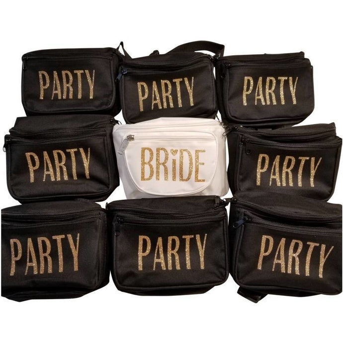 Black and White Three Pocket Women's Fanny Packs with gold glitter vinyl lettering
