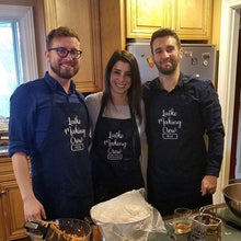 Load image into Gallery viewer, Personalized Latke Making Crew Embroidered Full Length Apron, Hanukkah Apron, Holiday Apron, Gift Apron
