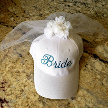 Load image into Gallery viewer, Bride Baseball Cap with Veil, Bachelorette Party, Rehearsal Hat,