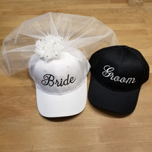 Load image into Gallery viewer, Bride and Groom Embroidered Baseball Caps with Veil