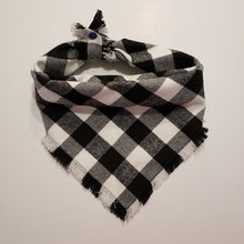Load image into Gallery viewer, Personalized Embroidered Plaid Dog Bandana | Black and White Flannel Fringe Bandana | Square Tie On Bandana with Snap | Fall Bandana