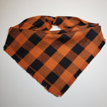 Load image into Gallery viewer, Personalized Embroidered Plaid Dog Bandana | Black and Orange Flannel Fringe Bandana | Square Tie On Bandana with Snap | Fall Bandana
