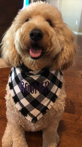 Personalized Embroidered Plaid Dog Bandana | Black and White Flannel Fringe Bandana | Square Tie On Bandana with Snap | Fall Bandana