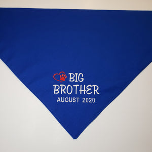 Personalized Big Brother Dog Bandana | Pregnancy Announcement Dog Bandana | Cotton Doggie Kerchiefs