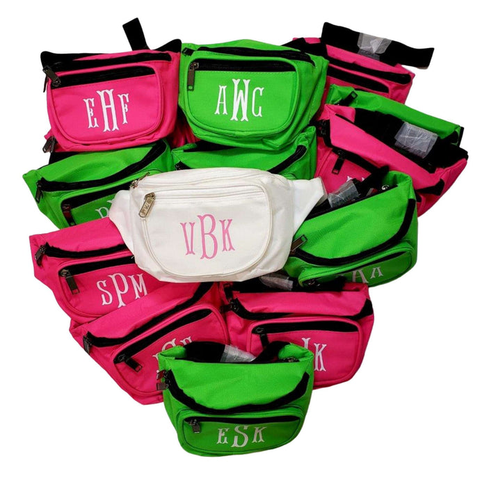 Custom Monogrammed Fanny Packs available in 12 colors