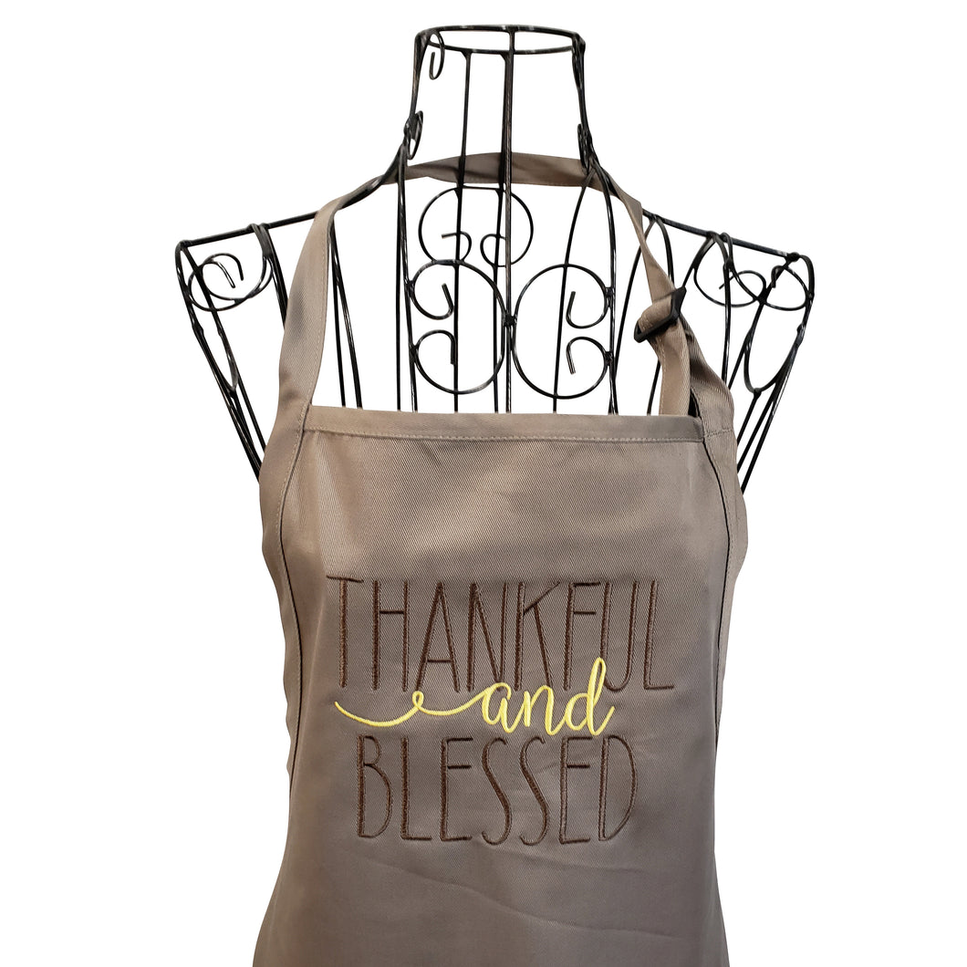 Thankful and Blessed Embroidered Apron, Christmas Apron, Holiday Apron, Gift Apron