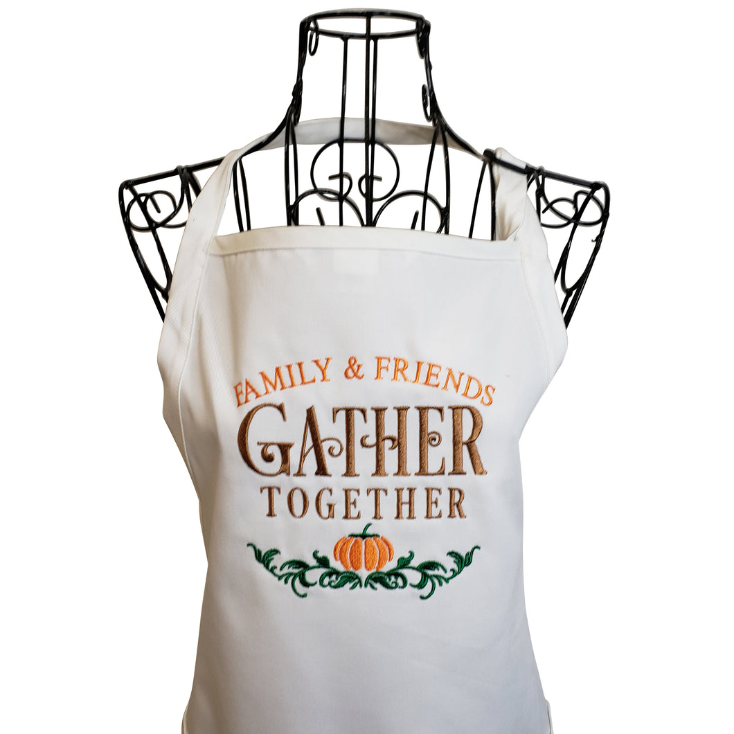 Gather Together Embroidered Apron, Thanksgiving Apron, Holiday Apron, Fall Apron