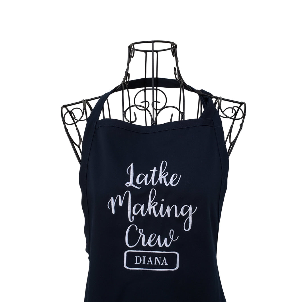 Personalized Latke Making Crew Embroidered Full Length Apron, Hanukkah Apron, Holiday Apron, Gift Apron