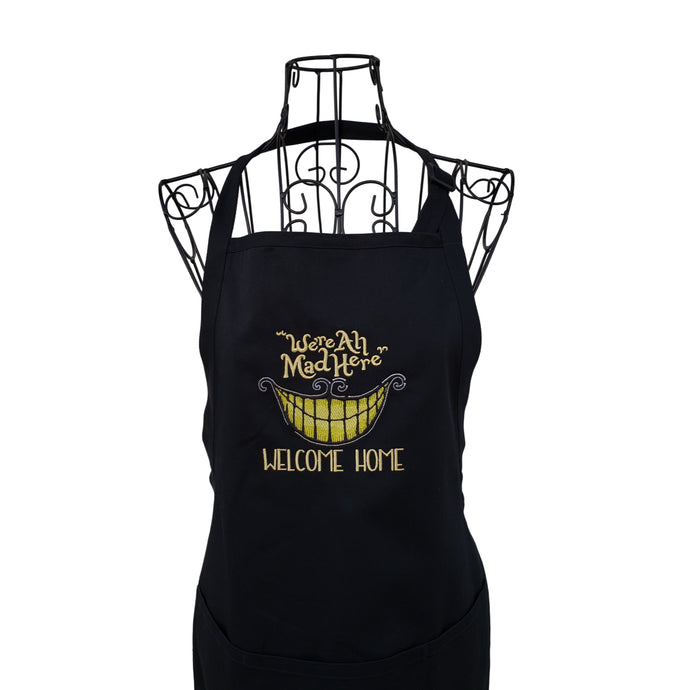 Funny Black Halloween Embroidered Full Length Apron, We're All Mad Here