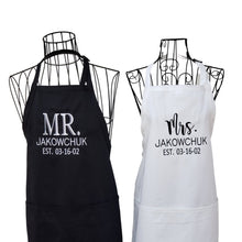 Load image into Gallery viewer, Personalized Mr. & Mrs. Embroidered Apron Set