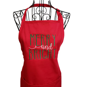 Merry and Bright Embroidered Christmas Apron, Christmas Apron