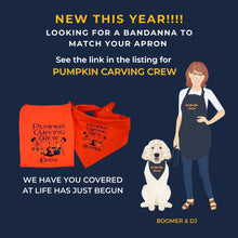 Load image into Gallery viewer, Halloween Personalized Embroidered Pumpkin Carving Crew Reversible Tie On Dog Bandana with Snap