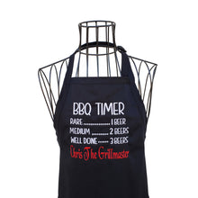Load image into Gallery viewer, Funny Personalized Embroidered BBQ Beer Timer Apron for the Grillmaster, Black Full Length Men or Women Chef Apron