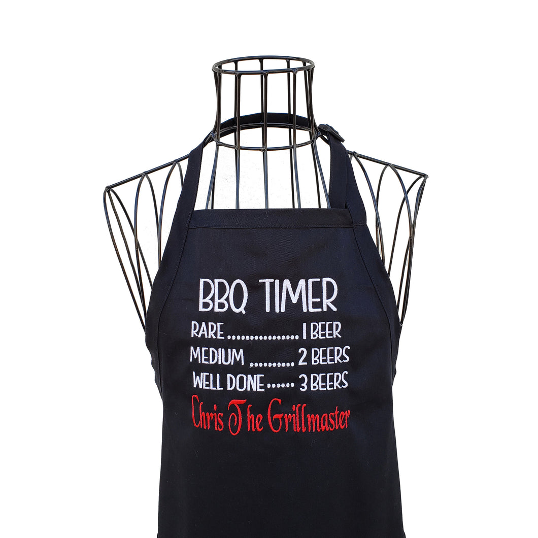 Funny Personalized Embroidered BBQ Beer Timer Apron for the Grillmaster, Black Full Length Men or Women Chef Apron