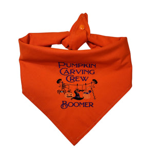 Halloween Personalized Embroidered Pumpkin Carving Crew Reversible Tie On Dog Bandana with Snap