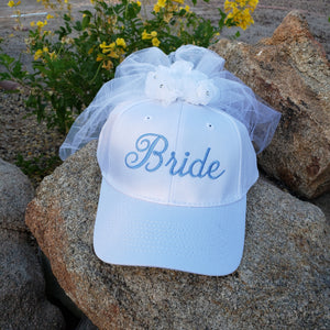 Bride Baseball Cap with Veil, Bachelorette Party, Rehearsal Hat,