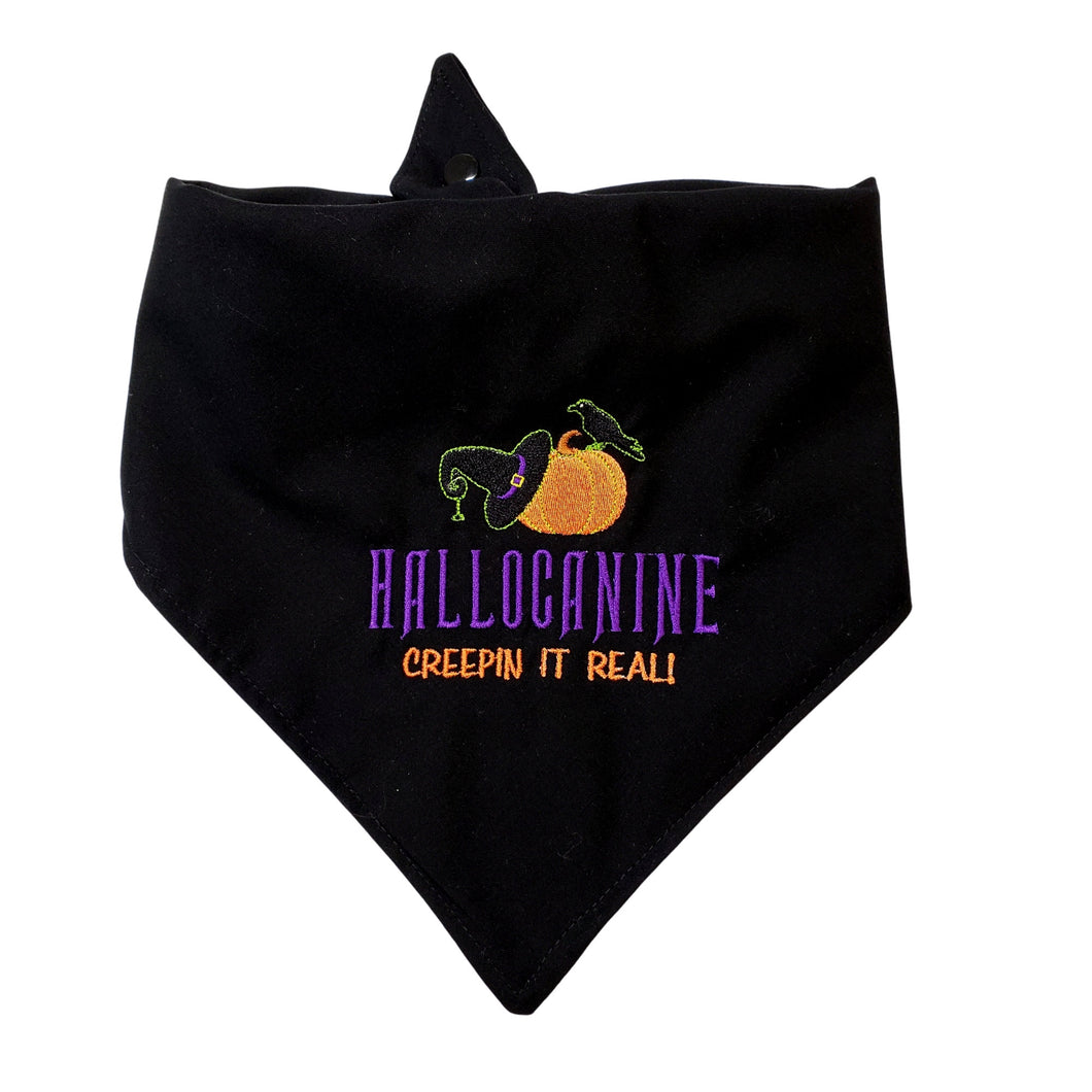 Funny Halloween Embroidered Reversible Tie On Dog Bandana With Snap | Embroidered Hallocanine Creepin It Real Unique Pet Gift