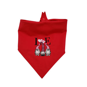 Valentine Embroidered Dog Bandana, Reversible Tie On Red Gnome Puppy Bandana with Snap