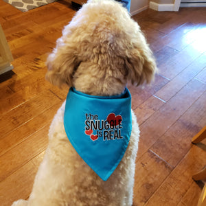 Embroidered Reversible Dog Bandana, Blue The Snuggle is Real Dog Scarf with Snap, Dog Mom Gift