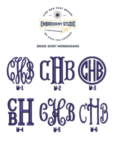 Four Custom Monogrammed Bride Getting Ready Wedding Shirts, Bridal Party Gift