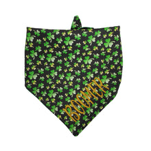 Load image into Gallery viewer, Personalized Reversible Tie On Dog Bandana with Snap, Custom Embroidered Dog Lover Gift, Versatile St. Patrick's Day Pet Gift