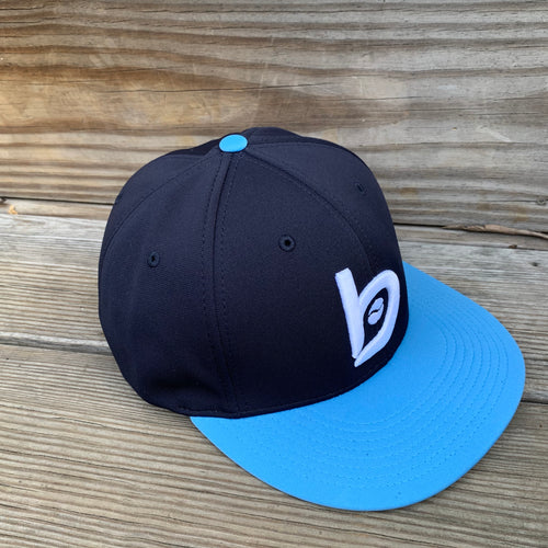 Bradley Baseball Flex-Fit Flat Brim Cap, Navy/Carolina