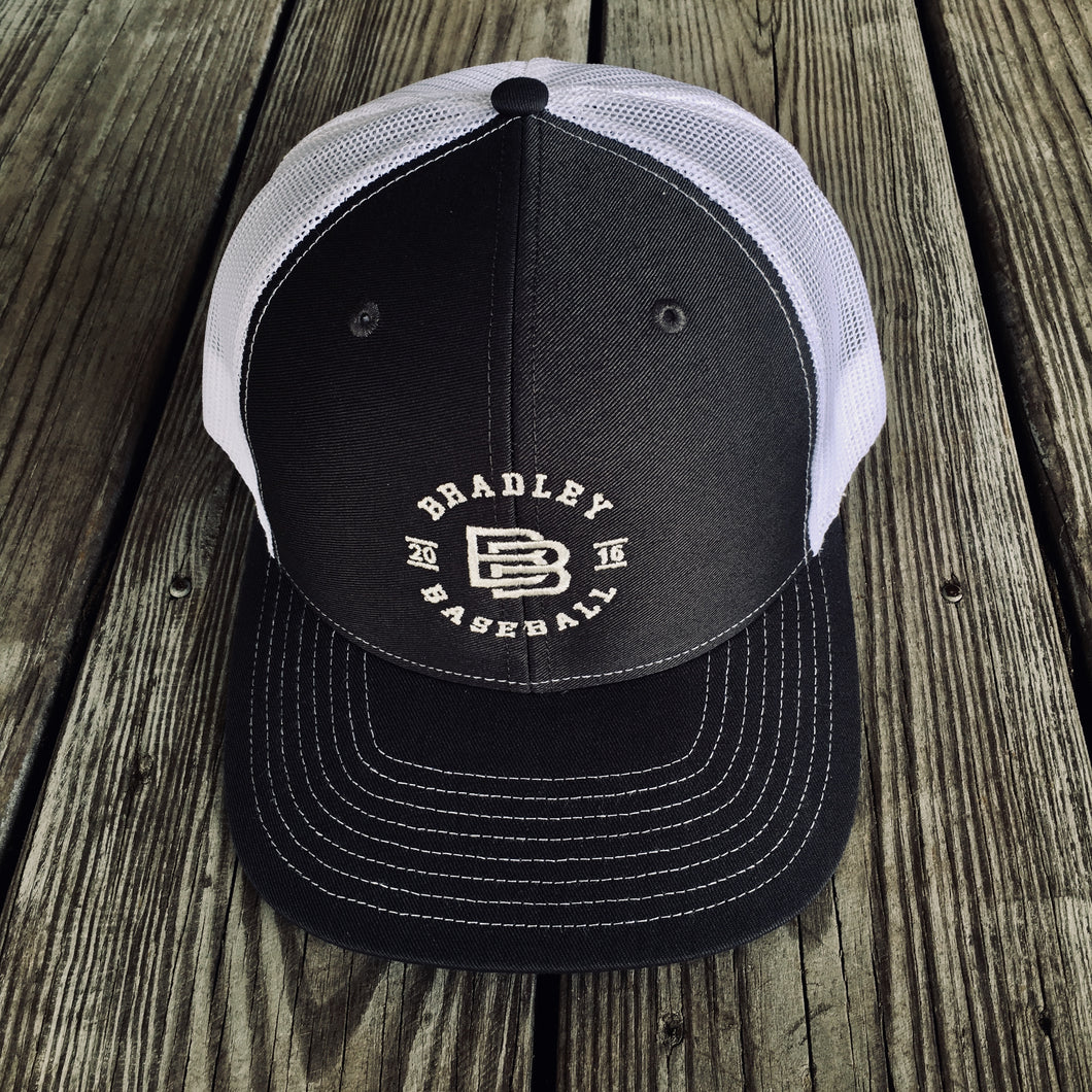 Copy of Bradley Baseball Interlocking BB Trucker Hat (Black)