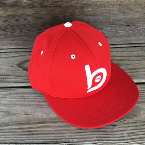Bradley Baseball Flex-Fit Flat Brim Cap, Red