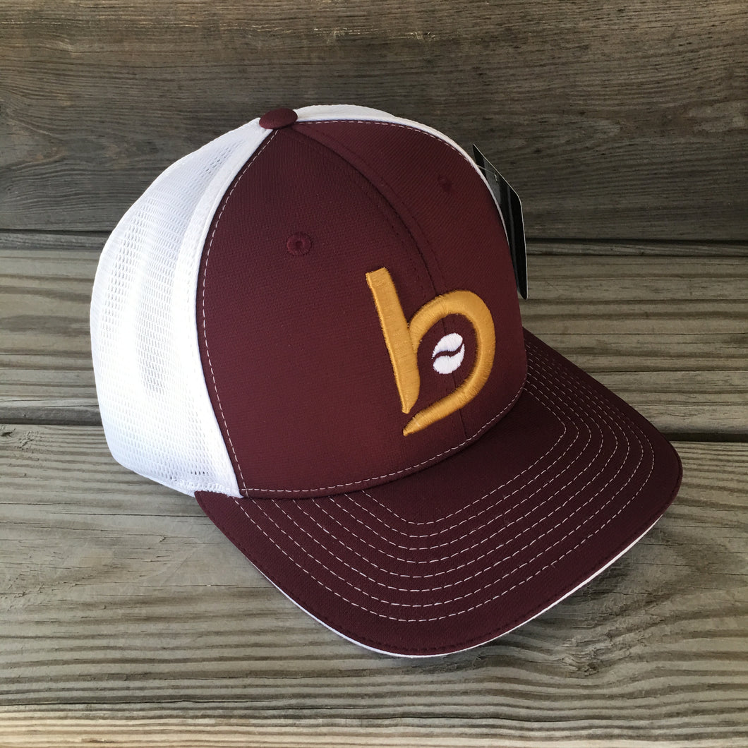 Bradley Baseball Flex-Fit Flat BP Hat (Maroon)