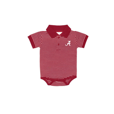 Two Feet Ahead -  - Alabama Strip Jersey Golf Shirt Creeper (268)