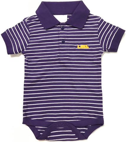 Two Feet Ahead - LSU - Louisiana State Jersey Stripe Golf Creeper