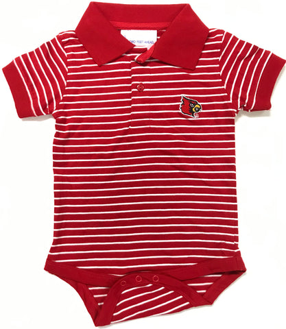 Two Feet Ahead - Louisville - Louisville Jersey Stripe Golf Creeper