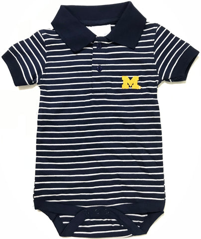 Two Feet Ahead - Michigan - Michigan Jersey Stripe Golf Creeper