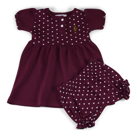 Two Feet Ahead - Arizona State - Arizona State Girl's Heart Dress with Bloomers