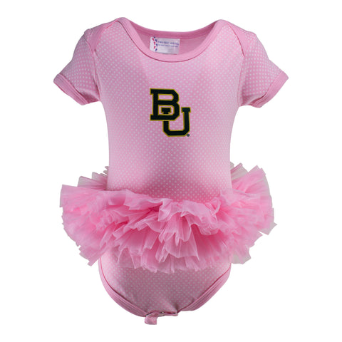 Two Feet Ahead - Baylor - Baylor Pin Dot Tutu Creeper