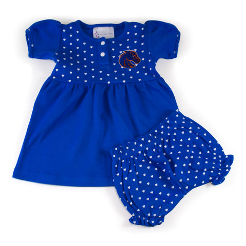 Two Feet Ahead - Boise State - Boise State Girl's Heart Dress with Bloomers