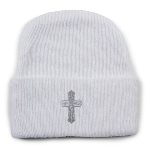Christening Newborn Knit Cap