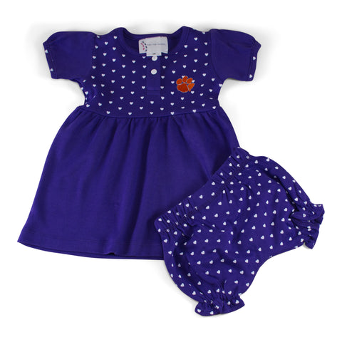 Two Feet Ahead - Clemson - Clemson State Girl's Heart Dress with Bloomers
