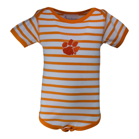 Two Feet Ahead - Clemson - Clemson Stripe Lap Shoulder Creeper