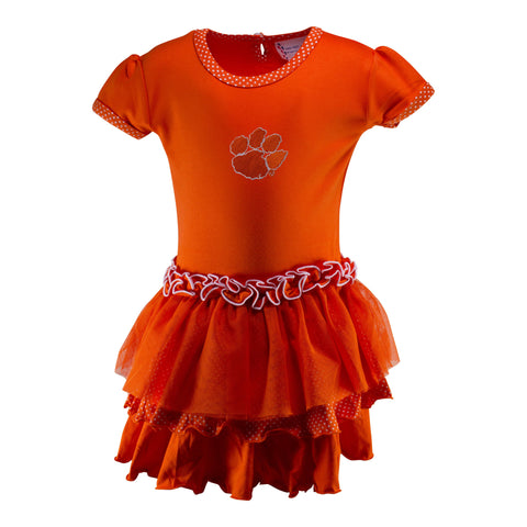 Two Feet Ahead - Clemson - Clemson Pin Dot Tutu Dress
