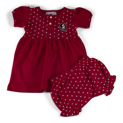 Two Feet Ahead - Florida State - Florida State Girl's Heart Dress with Bloomers