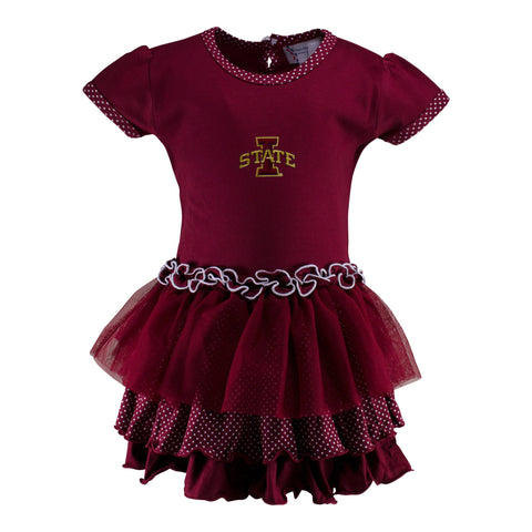 Two Feet Ahead - Iowa State - Iowa State Pin Dot Tutu Dress