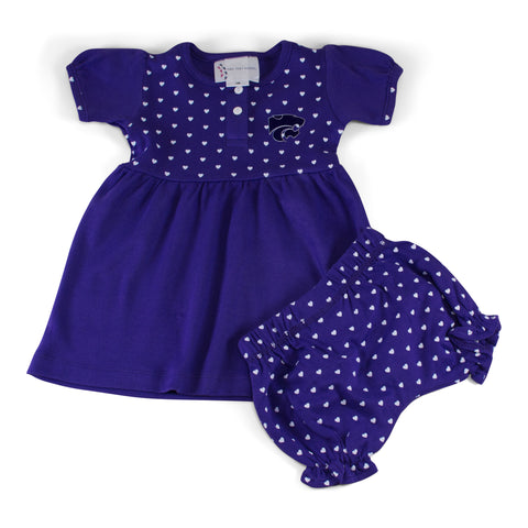 Two Feet Ahead - Kansas State - Kansas State Girl's Heart Dress with Bloomers